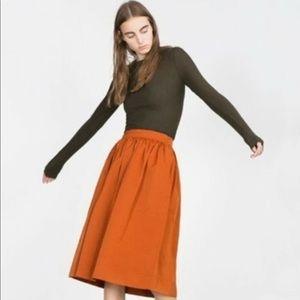 Zara Orange Midi Skirt With Pockets; New With Tags